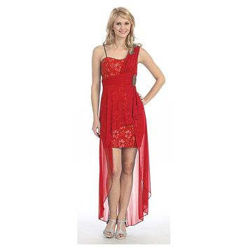 Spaghetti Strapped Short Chiffon Red Sheath Semi Formal Dress