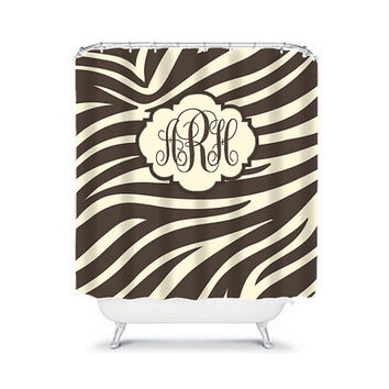 MONOGRAM Shower Curtain Zebra Initials Name Brown Beige CUSTOM Animal Pattern Choose Colors Bathroom Bath Made in USA
