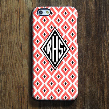 Pink Black Geometric iPhone 6 Case iPhone 6 plus Case Custom Initials iPhone 5 Case iPhone 5C Case iPhone 4S Case Galaxy S6 Edge S5 Case 123