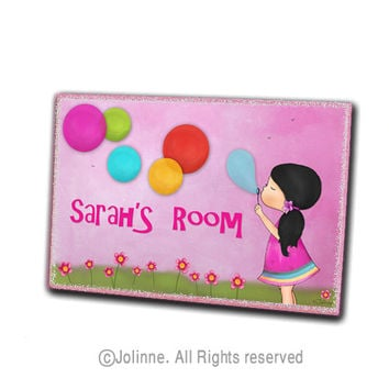 Girl blowing bubbles personalized door sign