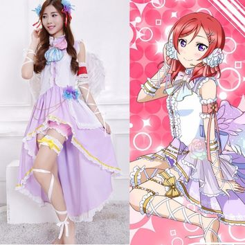 Anime Lovelive! Nishikino Maki White Valentine's Day Angels Awakening Uniform Cosplay Costume Love Live Full Set Lolita Dress