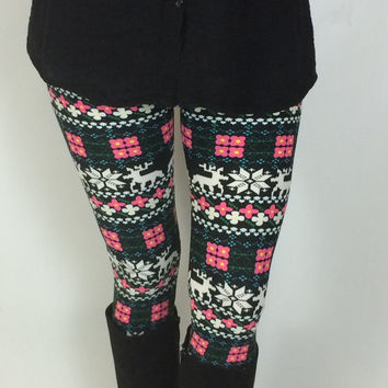 Reindeer Legggings, Snowflake Leggings, Nordic Leggings, Yoga Leggings, Christmas Leggings, Cute Leggings