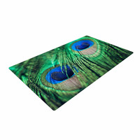 "Chelsea Victoria ""Peacock Feathers"" Blue Green Woven Area Rug"