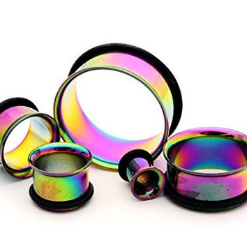 """Rainbow Steel Single Flare Tunnels - 7/16"""" - 11mm - Sold As a Pair"""
