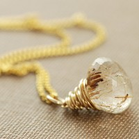 Gold Rutilated Quartz Necklace 14k Gold Wire Wrapped by aubepine