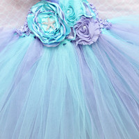 Gorgeous Aqua Purple Lavender Tutu Dress Under the Sea Flower Tutu Dress for Baby Girl 6-18 Months old First Birthday