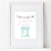 Made With Love Mixer Pastel Printable Digital Download