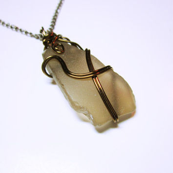 Brown Wrapped Sea Glass, Sea Glass Jewelry, Brown Nautical Necklace, Wrapped Pendant, Sea Glass Pendant, Nautical Jewelry, Wrapped Necklace