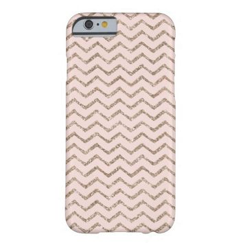 Rose Gold Glitter & Pink Zigzag Chevron Barely There iPhone 6 Case