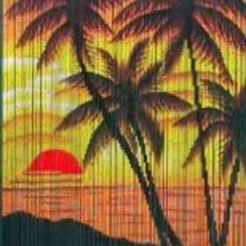 Tropical Sunset Palm Trees Beaded Curtain 125 Strands (+hanging hardware)