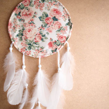Dream Catcher - Soft Dreams - With Unique Floral Frame and Pure White Swan Feathers - Boho Home Decor, Nursery Mobile