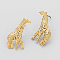 Rhinestone Giraffe Stud Earrings (Gold Or Silver)