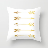 Faux gold foil arrows Throw Pillow by Jaclyn Rose Design | Society6