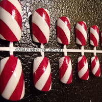Peppermint Candy Cane Stripe False Nail Set
