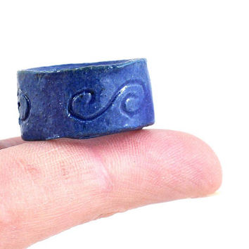 Handmade Ceramic Ring Rustic Spiral Design Semi Matt Blue Stoneware Statement Unisex Jewelry by DeeDeeDeesigns