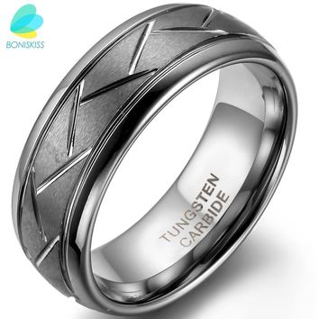 BONISKISS 8MM Men's Gray Brushed Finish Tungsten Carbide Ring & Diagonal Grooves Custom Engrave
