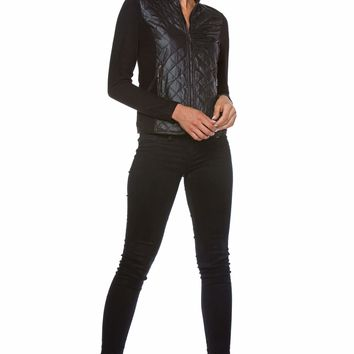 Maxime Fleece Zip-Up Jacket for Women with Nylon Quilting Front Panel in Black