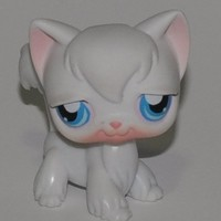 Longhair #9 White, Blue Eyes) - Littlest Pet Shop (Retired) Collector Toy - LPS Collectible Replacement Figure - Loose (OOP Out of Package & Print)