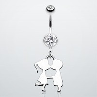 First kiss Belly Button Ring