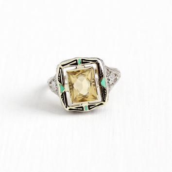 Vintage 14k White Gold Black & Green Enamel Citrine Ring - Art Deco Size 6 3/4 Flower Bow Filigree Yellow Gem 1920s Geometric Fine Jewelry