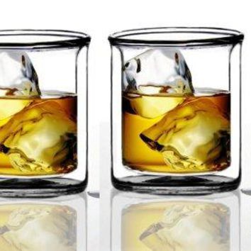 Suns Tea Strong Double Wall Manhattan Style Oldfashioned Whiskey GlassesClassic Scotch Whiskey GlassesVodka Rocks GlassesLowball Glasses for Liquor 9 Ounce265 ml Set of 2