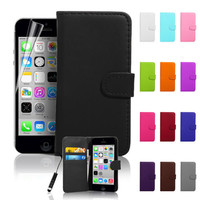Premium PU Leather Wallet Flip Card Case Cover For iPhone SE 2016 + Screen Guard | eBay