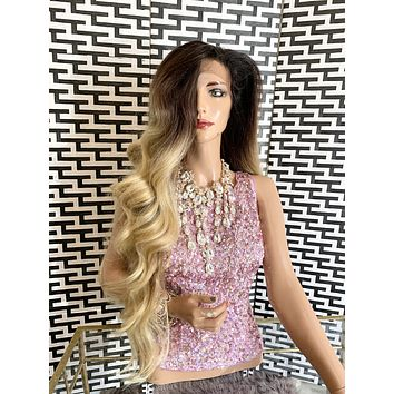 "MARIAH lace frontal wig 30"" long blond ombré balayage hair"