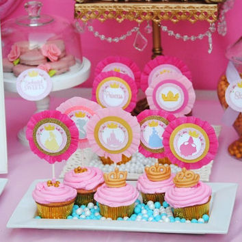 PRINCESS Party - CUPCAKE Toppers Party Printables / All Disney Princess Collection - Girls Birthday -Bridal Shower - Girl - INSTANT Download