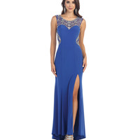 Royal Illusion Sweetheart Sequin High Slit Dress 2015 Prom Dresses