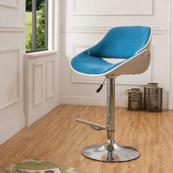Corvus Ogden Contemporary Teal Blue Velvet Adjustable Swivel Bar Stool