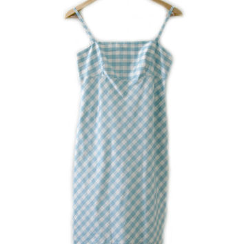 Vintage Dress ~ Size 2 XS - S ~ Plaid Stripe Pastel Blue White Easter Spring Strap Extra Small ~ By INC, International Concepts