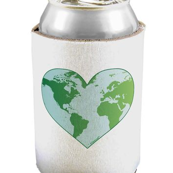 World Globe Heart Can / Bottle Insulator Coolers