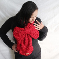 Crochet scarf, Women's bow scarf in Candy Apple Red - Chunky winter scarf, Thick winter scarf