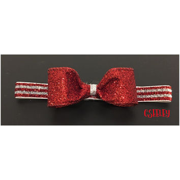 Glittery red and sparkly silver striped headband, christmas candy cane