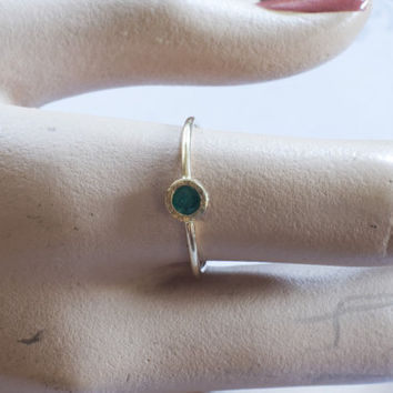 Tiny gold emerald ring, 14k delicate gold ring with green emerald, engagement ring, birthstone ring, green ,stack ring, tiny ring, handmade