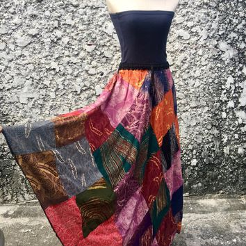 Multicolor Maxi Skirt Festival Hippie Patchwork Gypsy Fashion Boho Bohemian clothing tribal Vegan style One of kind Eco friendly gift Women