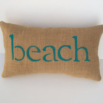 burlap beach pillow, decorative aqua blue beach word pillow, beach theme room decor, beach lover, whimsy sweet whimsy