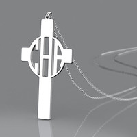 """Cross necklace,1"""" 1.25"""" 1.5''  Personalized Monogram,925 Sterling silver,monogram necklace,bridesmaids gift"""