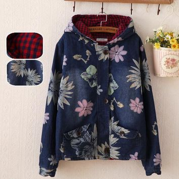 2017 New Winter Fall Mori Girl Women Jackets Long Sleeve Hooded  Washed Thick Single Breasted Button Zipper Flower Plaid Coat