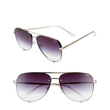 Quay Australia - High Key Rimless Sunglasses - Gold/Black Fade