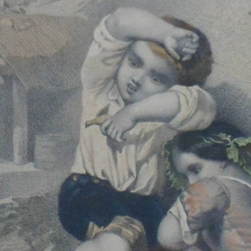 A wonderful 19th Century Lithograph of two children shying away from an angry grouse protecting its chicks