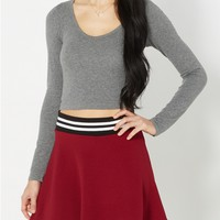 Heather Gray Cropped Knit Top