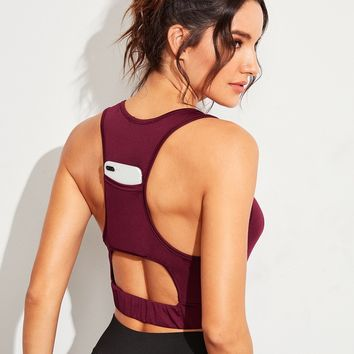 Solid Cut-out Back Racer Back Sports Bra
