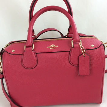 New Authentic Coach F57521 Mini Bennett Satchel Shoulder Bag Crossgrain leather in Bright Pink