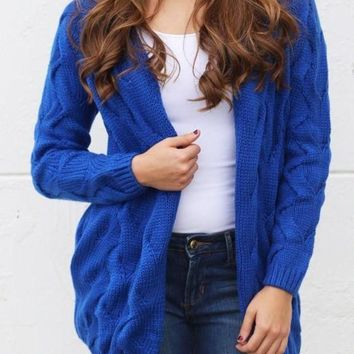 MDIGON1O Dark Blue Plain Collarless Streetwear Acrylic Cardigan Sweater Day First