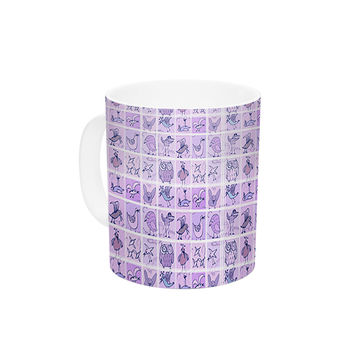"Marianna Tankelevich ""Cute Birds Purple"" Pink Lavender Ceramic Coffee Mug"