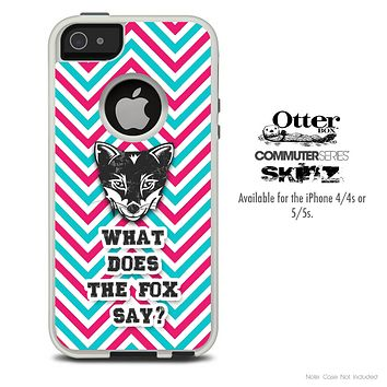 What Does The Fox Say Pink & Blue Chevron Skin For The iPhone 4-4s or 5-5s Otterbox Commuter Case