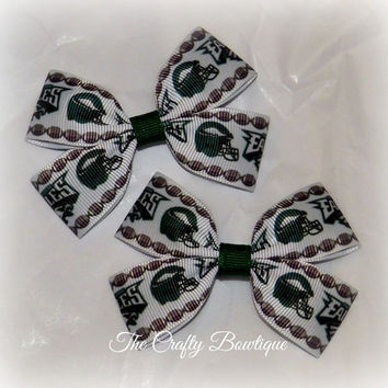 Philadelphia Eagles ~ Clippie Pigtail Hair Bow Set ~ Green and White ~ Boutique Hair Bows ~ Cheer Bows ~ Sports Team Bows ~ Football Bows