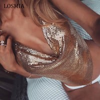 Boayours Swimwear Rose Gold Sequined Top Boho Flash Metal Backless Short Bustier Tops cropped feminino