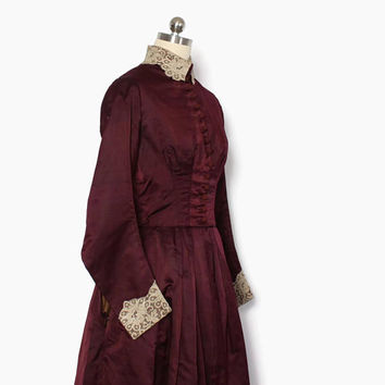 Vintage Victorian Silk DRESS / 1800s Plum Purple Lace Trim High Neck Silk Bodice & Skirt Suit Set XS - S